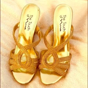 The touch of Nina gold cork wedges